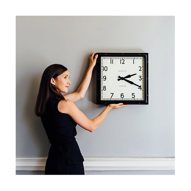 Industrial Metal Wall Clock - Square Black - Newgate Quad QUAD42K (lifestyle) 1 copy