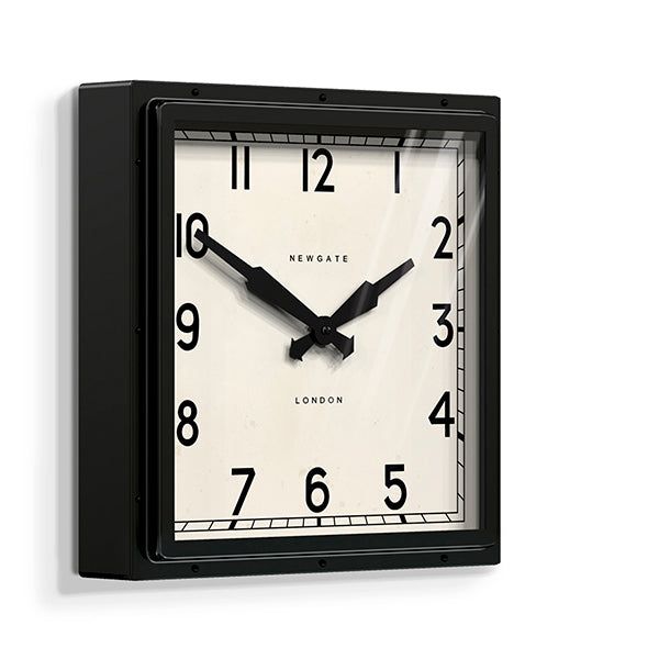 Industrial Metal Wall Clock - Square Black - Newgate Quad QUAD42K (skew)