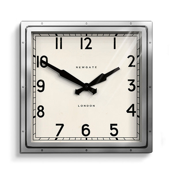 Industrial Metal Wall Clock - Square Chrome Silver - Newgate Quad QUAD42CH (front)