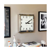 Industrial Metal Wall Clock - Square Chrome Silver - Newgate Quad QUAD42CH (homeware) 1 copy