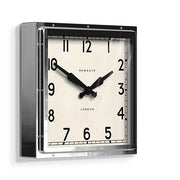 Industrial Metal Wall Clock - Square Chrome Silver - Newgate Quad QUAD42CH (skew)