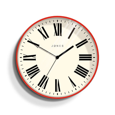 Jones Clocks Magazine wall clock in striking red with a modern Roman numeral dial - JMAG444R
