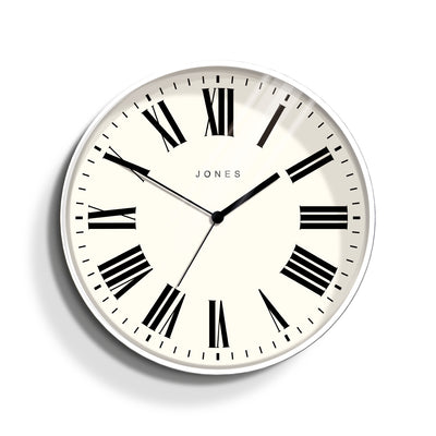 Jones Clocks Magazine wall clock in contemporary white with a modern Roman numeral dial - JMAG444W