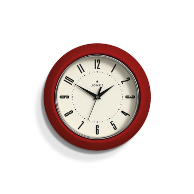 Retro Red Ketchup wall clock with an Arabic dial and triangular metal hands - JKETC214R