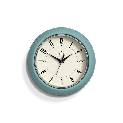Retro Teal Ketchup wall clock with an Arabic dial and triangular metal hands - JKETC214TE