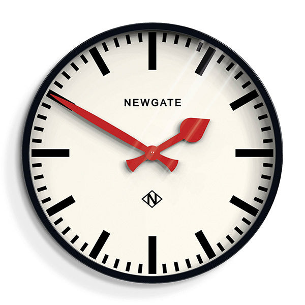 Large Black Station Clock - Marker Dial - Newgate Putney PUT390K (front)
