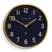 Large Brass Gold Wall Clock - Mid-Century Modern - Petrol Blue - Newgate Mr Edwards PUT373RAB (front)