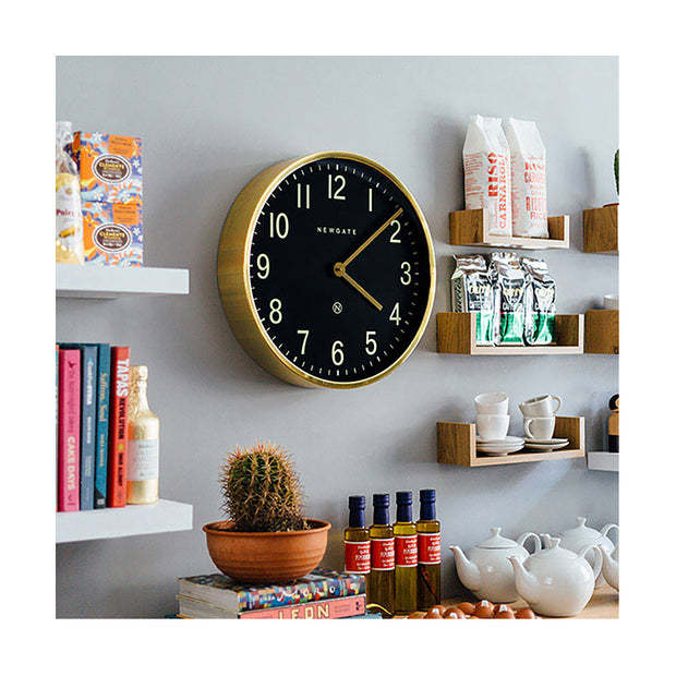 Large Brass Gold Wall Clock - Mid-Century Modern - Petrol Blue - Newgate Mr Edwards PUT373RAB (homeware) 1 copy