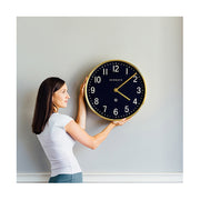 Large Brass Gold Wall Clock - Mid-Century Modern - Petrol Blue - Newgate Mr Edwards PUT373RAB (lifestyle) 1 copy