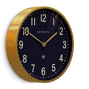 Large Brass Gold Wall Clock - Mid-Century Modern - Petrol Blue - Newgate Mr Edwards PUT373RAB (skew)