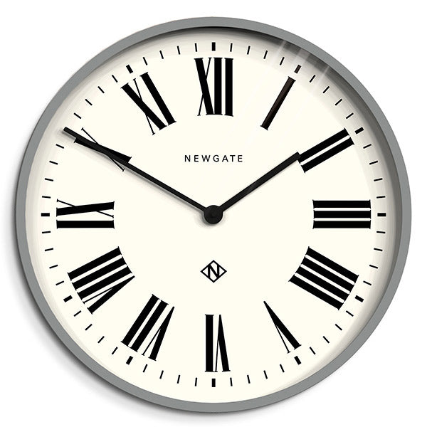 Grey Wall Clock Roman Numeral Dial Large Modern