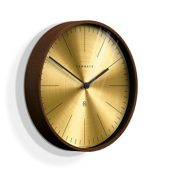 Large Mid-Century Brass Wall Clock - Dark Wood - Newgate Mr Clarke MRC224PLY40 (skew)