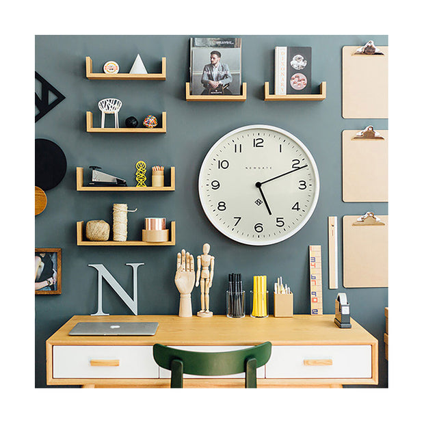 Large Modern White Kitchen Wall Clock - Minimalist - Newgate Echo NUMONE149PW (room decor) 1 copy