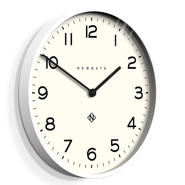 Large Modern White Kitchen Wall Clock - Minimalist - Newgate Echo NUMONE149PW (skew)
