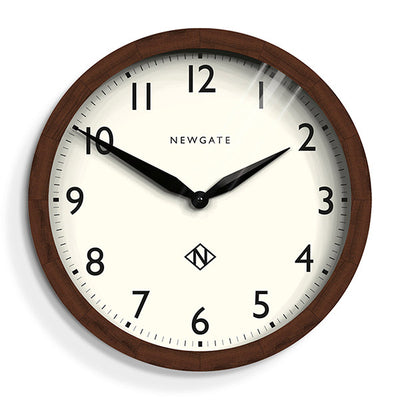 Newgate Clocks large solid Wimbledon wall clock in dark wood with a clear Arabic dial
