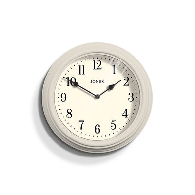 Jones Clocks Venetian classic wall clock in Linen Grey with a pretty Arabic dial and double spade hands