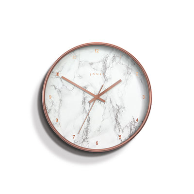 Jones clocks modern Penny wall clock in a copper effect with a marble effect Arabic dial and straight metal hands