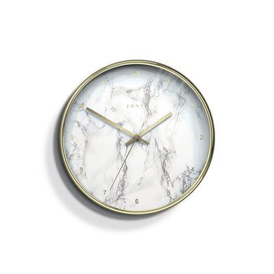 Marble Wall Clock Gold Modern - Jones Clocks Penny JPEN504PB - front