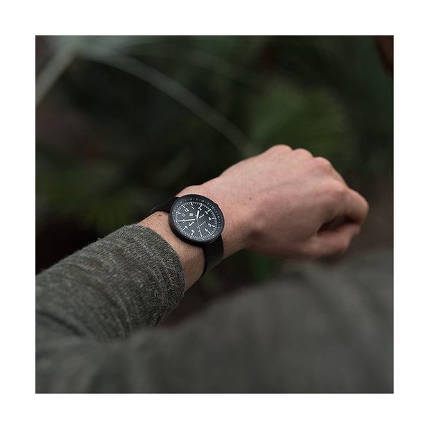 Men's Black-on-Black Aviator Watch - Canvas Strap - Modern Contemporary British Design - Newgate Torpedo WWMDLNRK048LK (style)