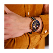 Men's Chronograph Watch – Black Leather Gold Stripe – British Designed Quartz Analog - Modern Subdial - Newgate WWG6VEG - VEGAS - fashion
