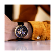 Men's Chronograph Watch – Black Leather Gold Stripe – British Designed Quartz Analog - Modern Subdial - Newgate WWG6VEG - VEGAS - style
