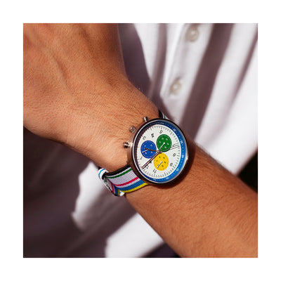 Men's Chronograph Watch – Black Leather blue Stripe – British Designed Quartz Analog - Modern Subdial - Newgate WWG6OXF - OXFORD - fashion