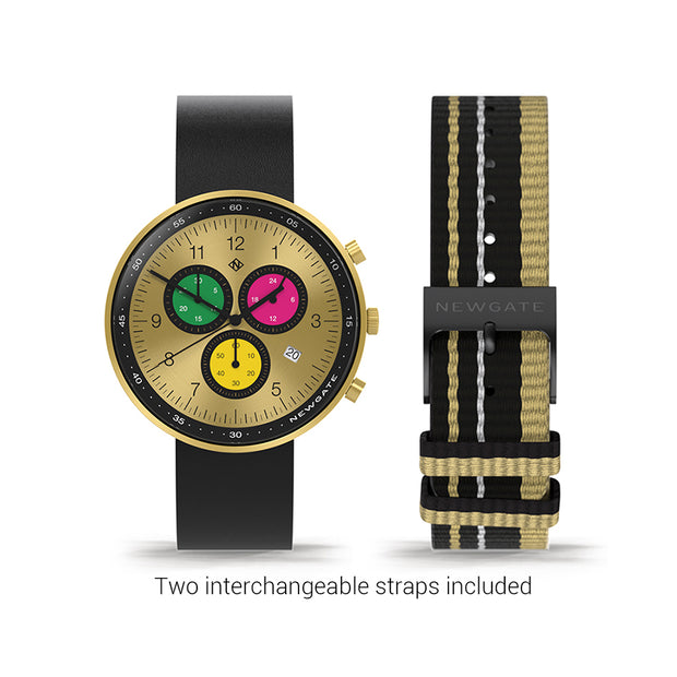 Men's Chronograph Watch – Black Leather gold Stripe – British Designed Quartz Analog - Modern Subdial - Newgate WWG6MTC - MONTE CARLO - strap