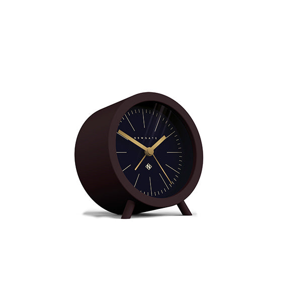 Mid-Century Modern Alarm Clock - Silent 'No Tick' - Brown Black - Newgate Fred FRED413CHK (skew)