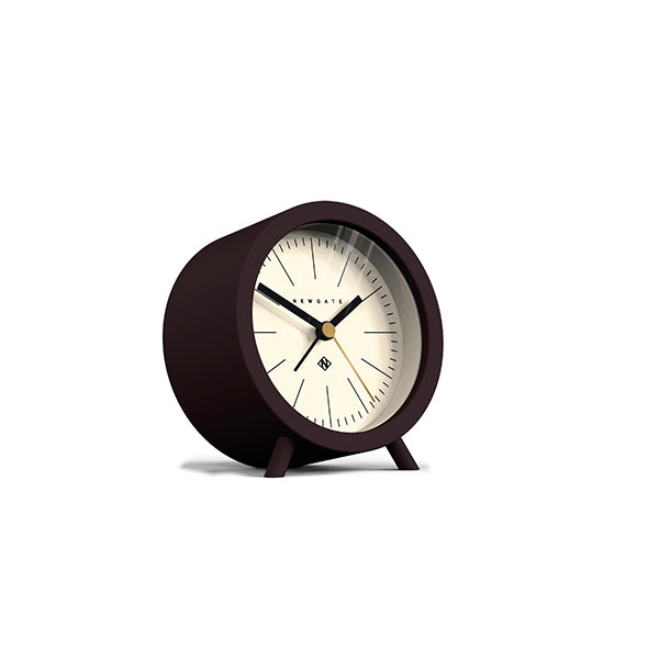 Mid-Century Modern Alarm Clock - Silent 'No Tick' - Brown Black - Newgate Fred FRED414CHK (skew)