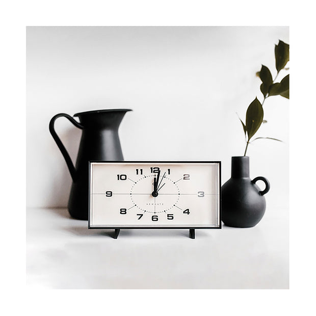 Mid-Century Retro Alarm Desk Clock - Black Rectangular - Newgate Wideboy WIDE453K (home accessories) copy