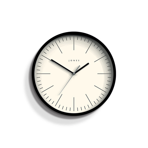 Minimalist Wall Clock Modern Black - Jones Clocks Spartacus JSPAR102K - front