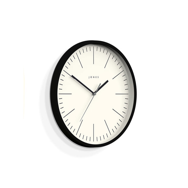 Minimalist Wall Clock Modern Black - Jones Clocks Spartacus JSPAR102K - skew
