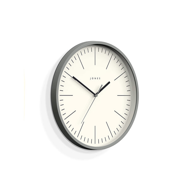 Minimalist Wall Clock Modern Grey - Jones Clocks Spartacus JSPAR102PGY - skew