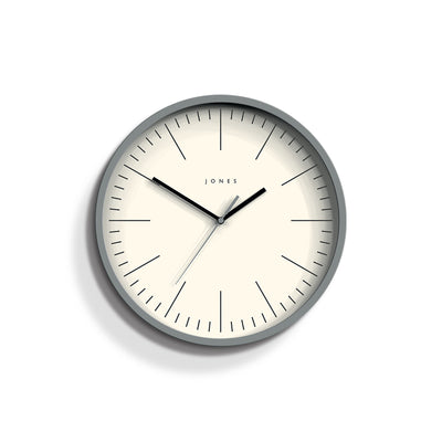 Minimalist Wall Clock Modern Grey - Jones Clocks Spartacus JSPAR102PGY - front