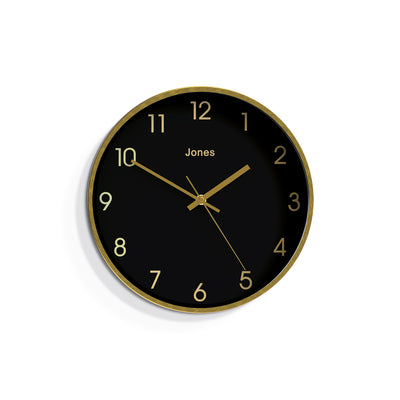 Fame gold wall clock by Jones Clocks with a gold foil and black dial – JFAME573BRB