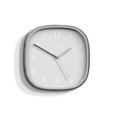 Modern Silver Wall Clock Square - Jones Clocks Marvel JMARV682CH
