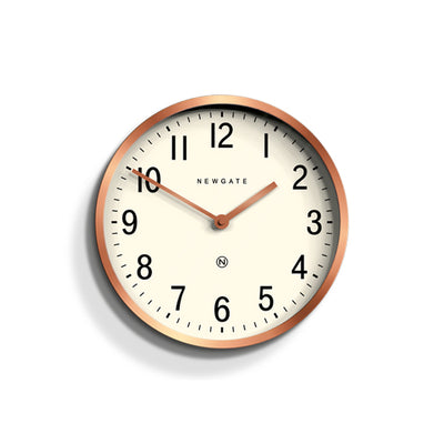 Master Edwards wall clock in copper by Newgate World with an arabic dial and straight metal hands