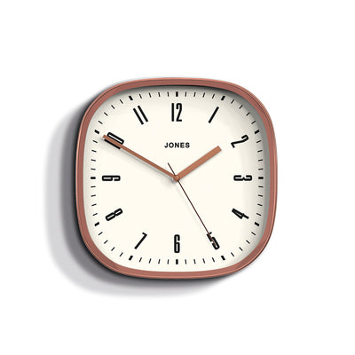 Jones Clocks Marvel retro wall clock in a copper effect with an Arabic dial