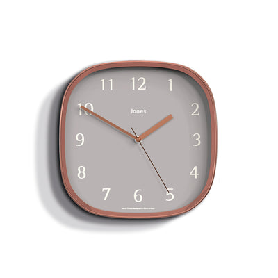 Jones Clocks Marvel retro wall clock in copper effect with a grey Arabic dial