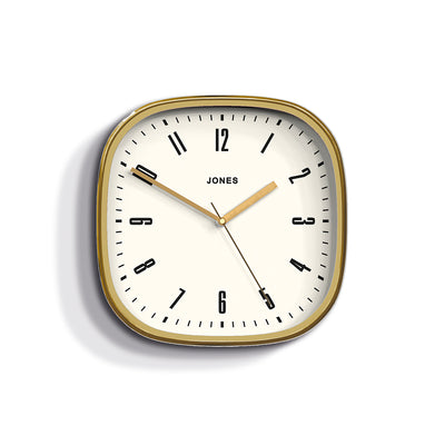 Jones Clocks Marvel retro wall clock in a gold effect with an Arabic dial