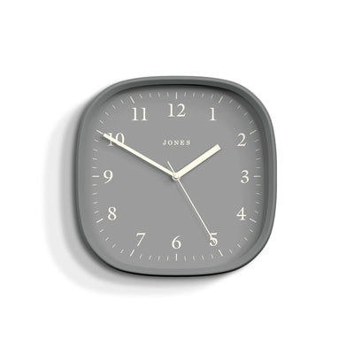 Jones Clocks Marvel retro wall clock in grey with a grey Arabic dial