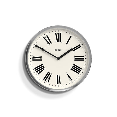 Heartbeat Jones wall clock in Chrome with a modern Roman numeral dial and straight metal hands - JHEAR173CH
