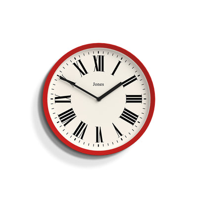 Heartbeat Jones wall clock in Red with a modern Roman numeral dial and straight metal hands - JHEAR173R