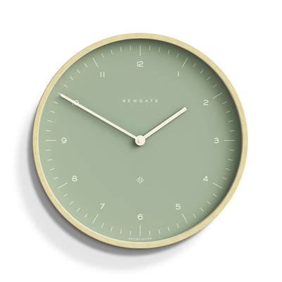 Modern Scandi Wall Clock Plywood Green Newgate Mr Clarke - MRC133PLY40