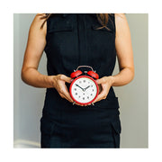 Modern Alarm Clock - Bright Colour Red - Silent 'No Tick' - Newgate Echo CBM134FER (life style)