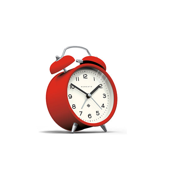 Modern Alarm Clock - Bright Colour Red - Silent 'No Tick' - Newgate Echo CBM134FER (skew)