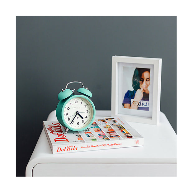 Modern Alarm Clock - Bright Colour Turquoise Blue - Silent 'No Tick' - Newgate Echo CBM134AM (lifestyle) 1