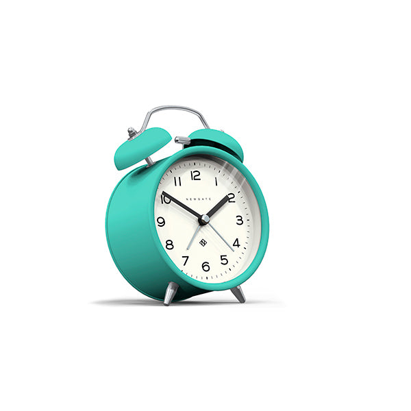 Modern Alarm Clock - Bright Colour Turquoise Blue - Silent 'No Tick' - Newgate Echo CBM134AM (skew)