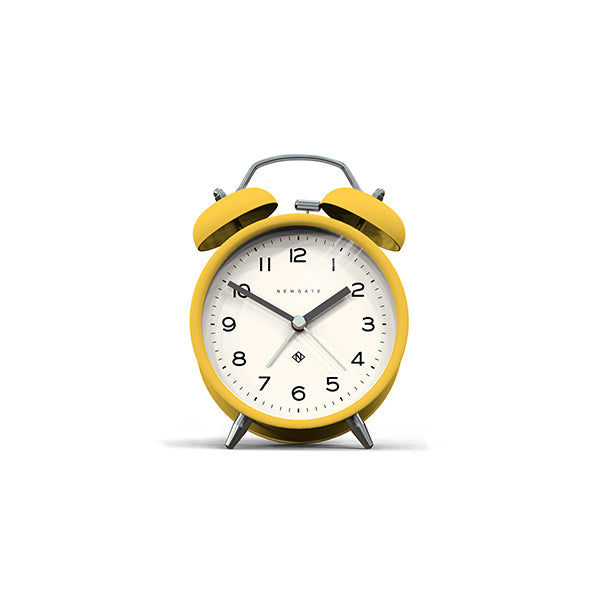 Modern Alarm Clock - Bright Colour Yellow - Silent 'No Tick' - Newgate Echo CBM134CHY
