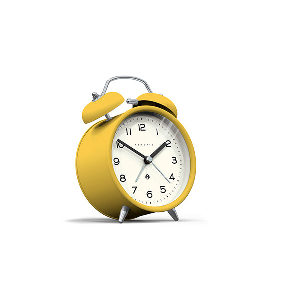 Modern Alarm Clock - Bright Colour Yellow - Silent 'No Tick' - Newgate Echo CBM134CHY (skew)